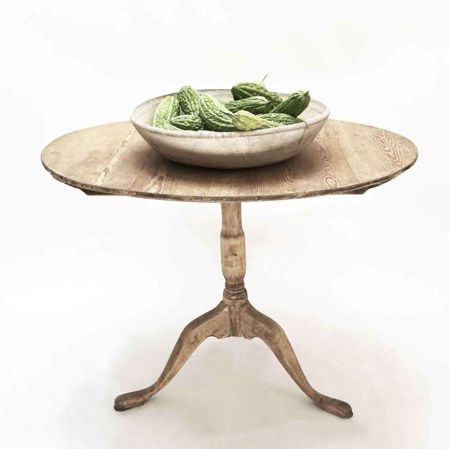 Early 19th c Swedish Oval Pine table with a Flip Top - Circa 1840