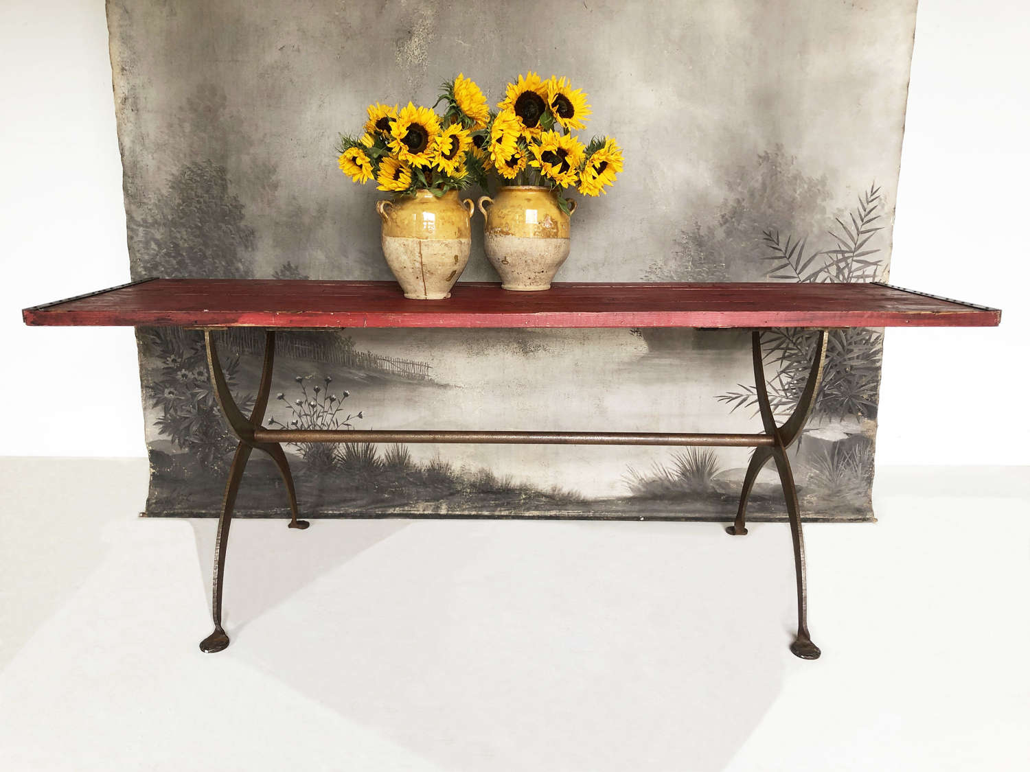 Early 20th c Welsh Industial Work Table with iron base - circa 1920