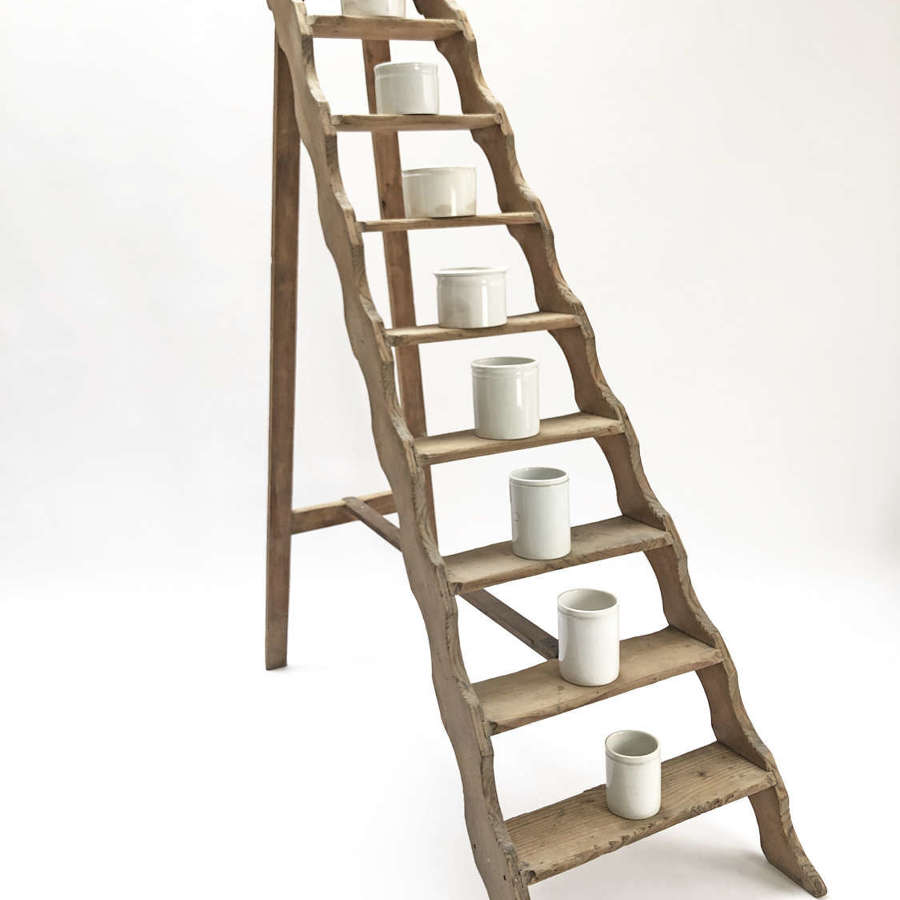 French 19th c Pine Library Ladder - Circa 1860
