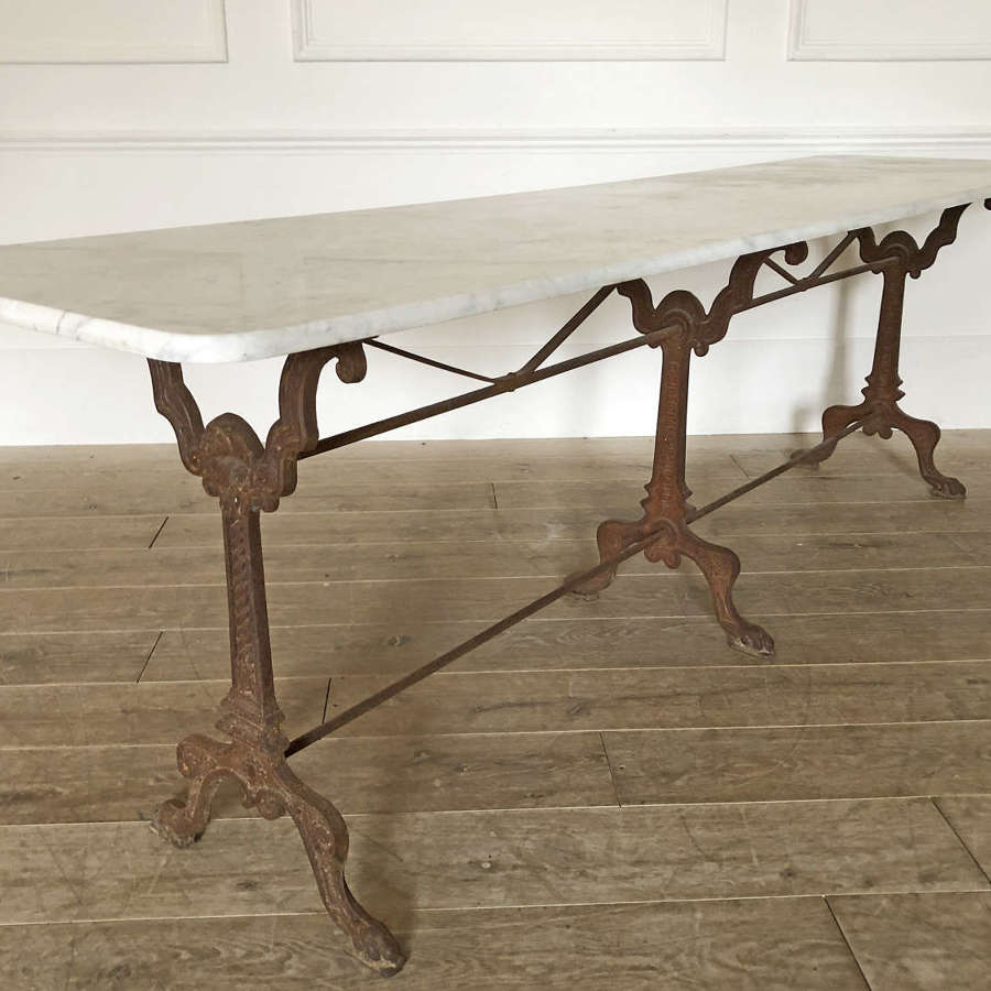 Long 19th c French Cast Iron Table with marble top - circa 1900