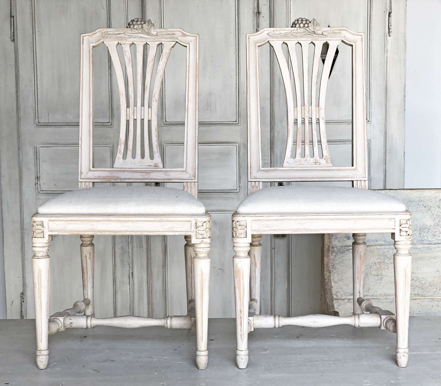 Pair of Swedish side Chairs with Grape Carving - 1950c