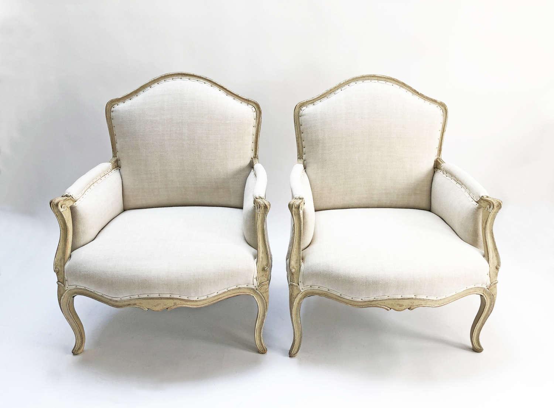 Pair of large 19th c Swedish Arm Chairs - C 1850
