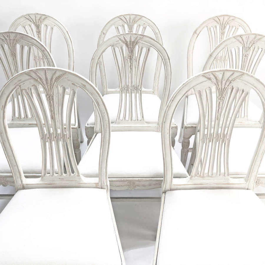 Set of 8 19th c Swedish Dining Chairs with Wheat Sheath motif c 1890