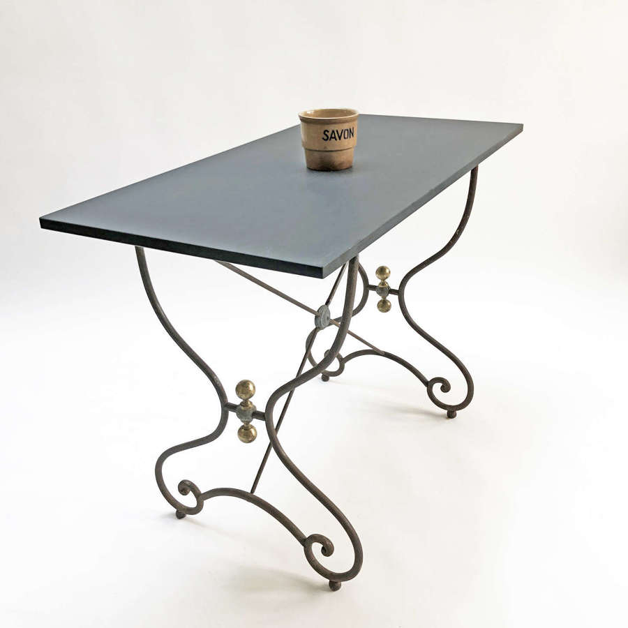 19th c French Cafe Table with Slate Top - circa 1860