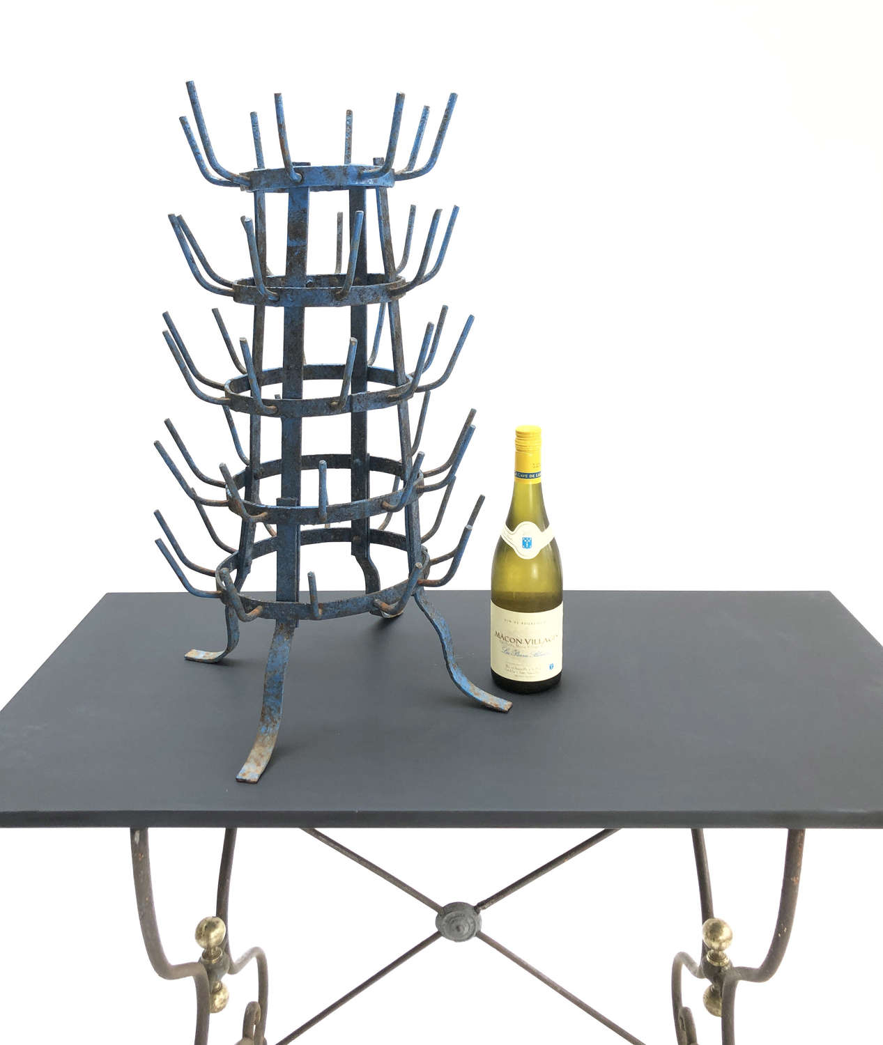 A small French iron Bottle Drying Rack - circa 1920