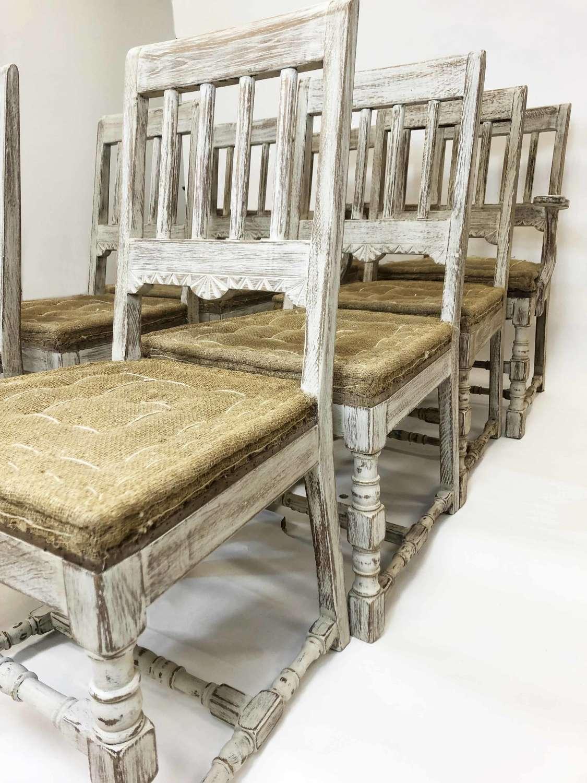 Set of 8 Swedish 19th c Dining Chairs - circa 1880
