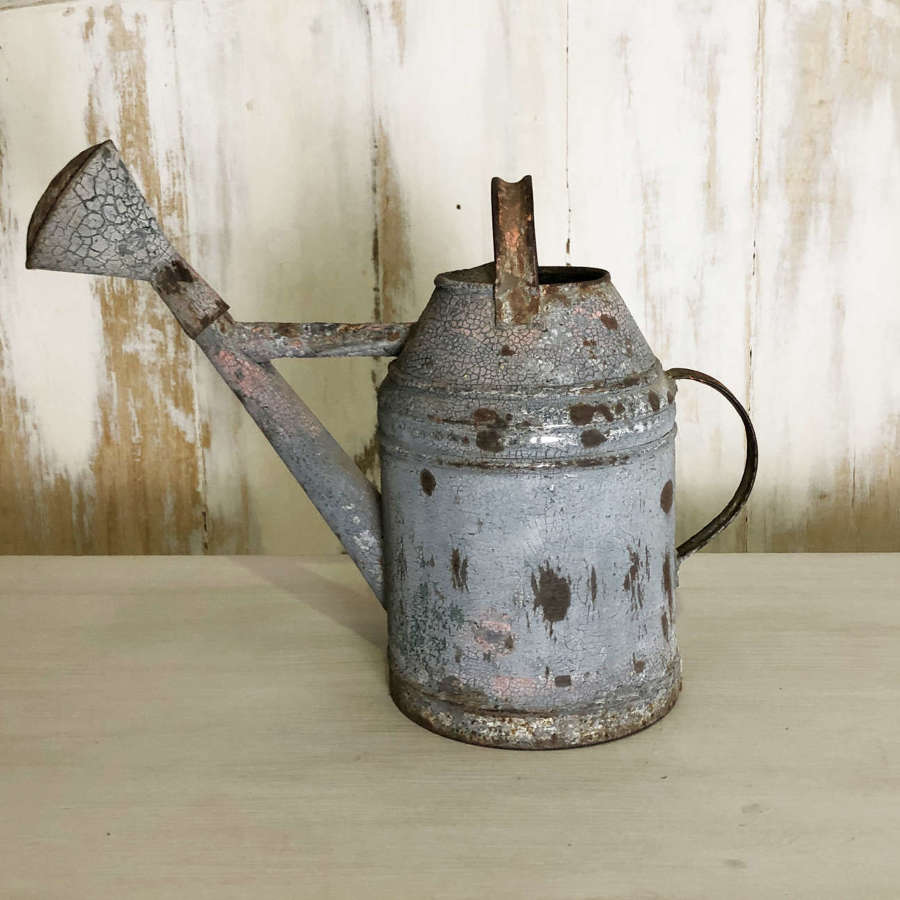 Old French Watering can with crusty paint - circa 1920