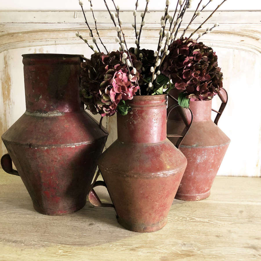 3 French Zinc Pitchers with original red paint - circa 1880